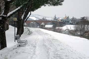 cesena savio river and snow